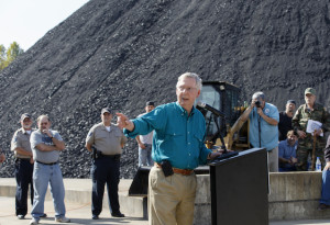 Senate Minority Leader Mitch McConnell of Ky., a 30-year incumbent, greets people at a coal tipple operation, B&W Resources in Manchester, Ky., Monday, Oct. 27, 2014, during the final week before the crucial midterm election that could shift the balance of power in Congress. (AP Photo/J. Scott Applewhite)